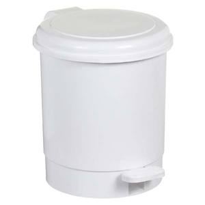 Lixeira de Banheiro Com Pedal Chão Plástico 5L Branco 24x24,5x17,5cm Pavão