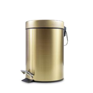Lixeira de Banheiro Metal 5L Champagne Gold  Pedal