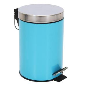 Lixeira de Banheiro Metal Azul 3L Pedal