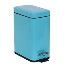 Lixeira de Banheiro Metal Azul Slim 5L Pedal