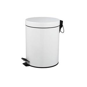 Lixeira de Banheiro Metal Branco 3L Pedal
