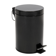 Lixeira de Banheiro Metal Preta 3L Pedal