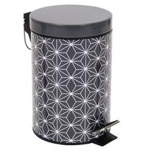Lixeira de Banheiro Metal Preto Boheme 3L Pedal