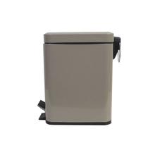 Lixeira de Banheiro Metal Taupe Slim 5L Pedal