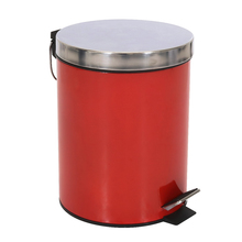 Lixeira de Banheiro Metal Vermelha Happy 5L Pedal