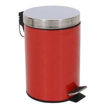Lixeira de Banheiro Metal Vermelho 3L Pedal