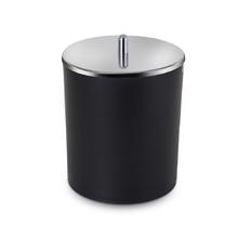 Lixeira de Banheiro Plástico e Metal Preta 5L Sensea