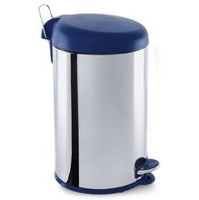 Lixeira Multiuso Inox e Polipropileno Prata e Azul 12L Pedal Coza