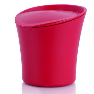 Lixeira para Pia de Cozinha com Tampa Plástico 1,4L Vermelho 17cm x 16cm x 17cm Color - Organizar Martiplast