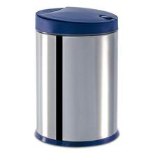 Lixeira para Pia de Cozinha Inox e Polipropileno Prata e Azul 4L Click Coza