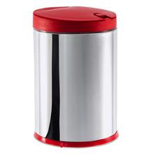 Lixeira para Pia de Cozinha Inox e Polipropileno Prata e Vermelha 4L Click Coza