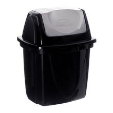 Lixeira para Pia de Cozinha Plástico Preta 6,5L Basculante Plasutil