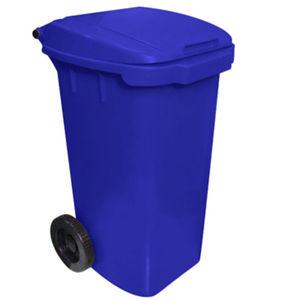 Lixeira Seletiva com Tampa Basculante Com Rodas Externo Plástico 120L Azul 89cm x 49cm VF