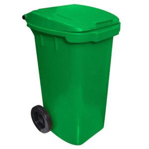 Lixeira Seletiva com Tampa Basculante Com Rodas Externo Plástico 120L Verde 90cm x 50cm VF