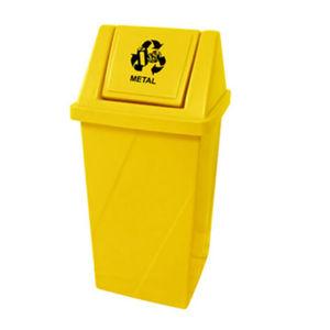 Lixeira Seletiva com Tampa Basculante Externo Plástico 65L Amarelo 81,5cm x 40,5cm Fibralix