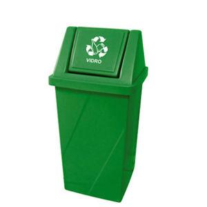 Lixeira Seletiva com Tampa Basculante Externo Plástico 65L Verde 81,5cm x 40,5cm Fibralix