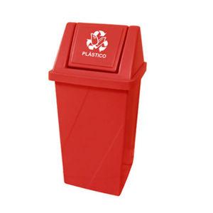 Lixeira Seletiva com Tampa Basculante Externo Plástico 65L Vermelho 81,5cm x 40,5cm Fibralix