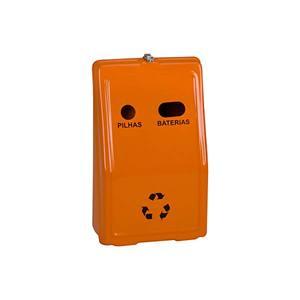 Lixeira Seletiva para Pilhas e Baterias com Tampa Click Externo 30L Laranja 51,2cm x 40,5cm Fibralix