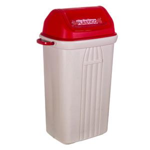 Lixeira Seletiva Plástico Vermelho 74x31,30x41cm Basculante