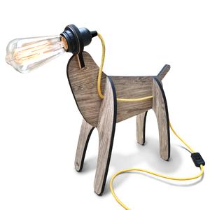 Luminária de Mesa E27 Madeira Cachorro I-Stick