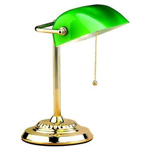 Luminária mesa Inglês Metal/Vidro 33x20cm Verde/Dourado Bronzearte