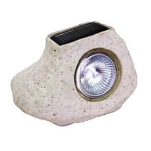 Luminária solar Pedra Metal e plástico Cinza DNI