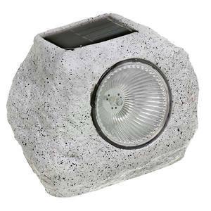 Luminária solar Pedra Metal e plástico Cinza Inspire