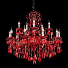 Lustre 15 Lâmpadas Vermelho Roma Chandelie