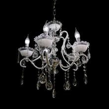 Lustre 5 Lâmpadas Prata e Branco 6502/5 Diamante