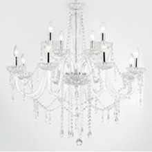 Lustre Redondo Cristal, metal e Vidro Transparente 12 Lâmpadas Bivolt