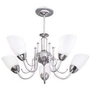 Lustre Diagonal Alumínio/Vidro Titânio/Cromado para 5 Lâmpadas E27 64 x 64 x 48 cm Emalutres