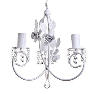 Lustre Flores Strass Alumínio Branco p/3 Lâmp. E27 40x40x80cm MM Iluminação