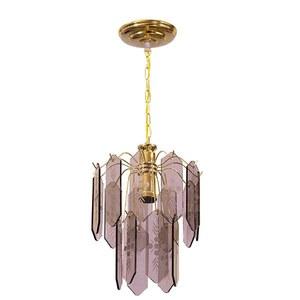 Lustre Plaqueta Vidro Dourado/ Bronze para 1 Lâmpada E27 34 x 23 x 60 cm Emalutres