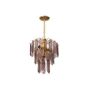 Lustre Plaqueta Vidro Dourado/ Bronze para 3 Lâmpadas E27 40 x 30 x 60 cm Emalutres