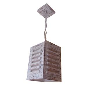 Lustre Artluz Quadrado Madeira Marrom 1 Lamp Bivolt