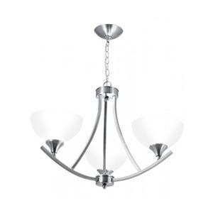 Lustre Originale Startec Redondo Aço/Vidro Prata 3 Lamp Bivolt