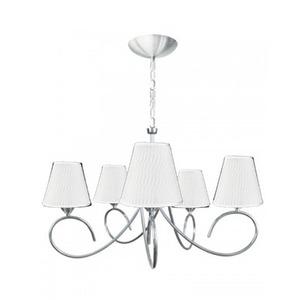 Lustre Caisma Iluminação Lola Redondo Alumínio/Tecido Branco 5 Lamp Bivolt
