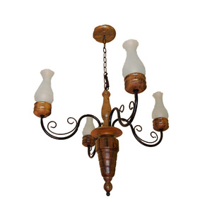 Lustre Artluz Redondo Ferro/Madeira Preto 4 Lamp Bivolt
