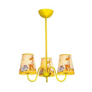 Lustre Taschibra Kids Zoo 3 Lâmpadas Amarelo