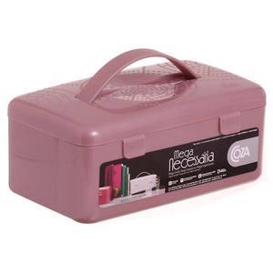 Maleta Plástico Necessaire Rosa 10x23x13cm Brinox