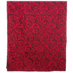 Manta Decorativa Chenille Arabesco Vermelha 1,40x1,50m