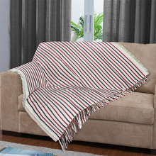 Manta Decorativa Stripe Vermelha 1,40x1,40m