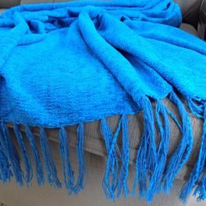 Manta Para Sofá Azul Turquesa Em Chenille   Leroy Merlin