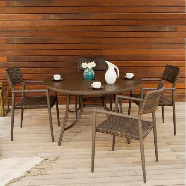 mesa alum nio redonda porto fino centro girat rio marrom 72x150cm leroy merlin. Black Bedroom Furniture Sets. Home Design Ideas