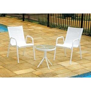 Mesa Fixa 138 Alumínio/Vidro Branco 50x72cm Outdoor