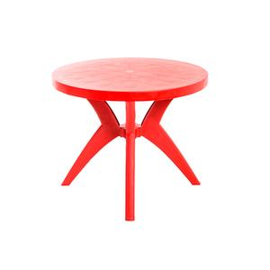 Mesa Plástico Redonda Deluxe Vermelha 72x90cm