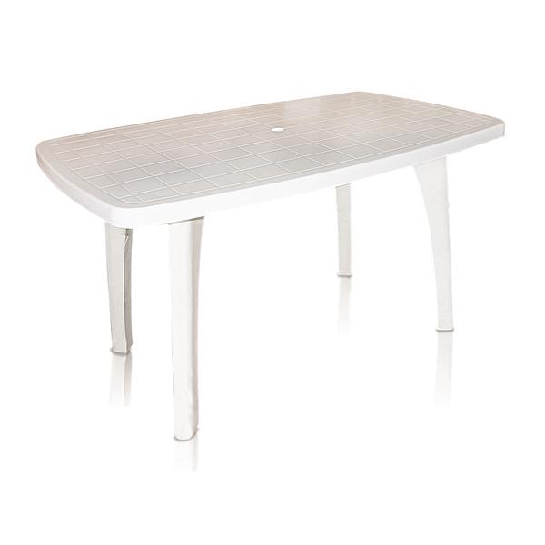 Mesa pl stico retangular tiradentes branca 80x70x130cm for Mesas de jardin de plastico