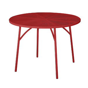 Mesa Tampo Perfurado Aço 100x100cm Vermelho Importado