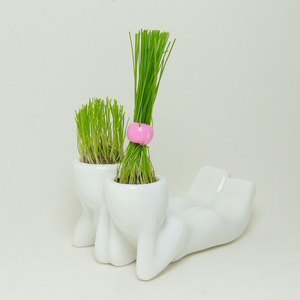 Mini Boneco Casal Cerâmica Branco Greent Import
