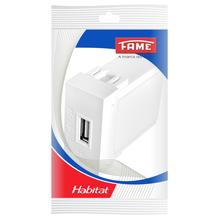 Módulo de Tomada Carregador USB Bivolt  Branco Habitat Fame